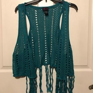 New Torrid sweater Teal fringe vest size 2X